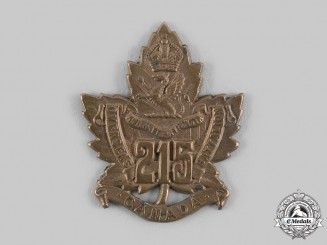 Canada, CEF. A 215th Infantry Battalion Cap Badge, by Birks 1916