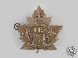 "Canada, CEF. A 115th Infantry Battalion ""New Brunswick Battalion"" Cap Badge"