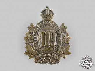 "Canada, CEF. A 119th Infantry Battalion ""Algoma Overseas Battalion"" Cap Badge"