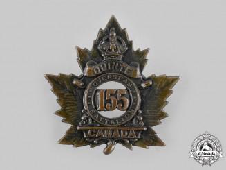 "Canada, CEF. A 155th Infantry Battalion ""Quinte Battalion"" Cap Badge"