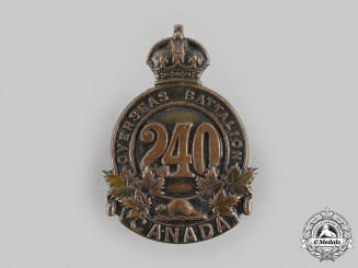"Canada, CEF. A 240th Infantry Battalion ""Lanark and Renfrew Battalion"" Cap Badge"
