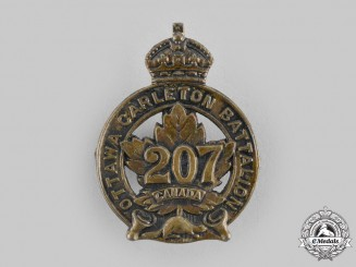 "Canada, CEF. A 207th Infantry Battalion ""Ottawa and Carleton Overseas Battalion"" Cap Badge, by Birks, 1916"