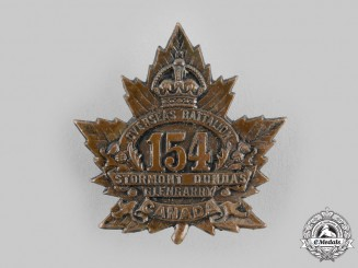 "Canada, CEF. A 154th Infantry Battalion ""Stormont, Dundas and Glengarry Highlanders"" Cap Badge"