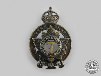 Canada, CEF. A 7th Battalion, Canadian Railway Troops Cap Badge, by J.R.Gaunt