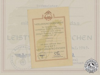 Germany, Kriegsmarine. A Rare Award Document for a Shipyard Merit Badge to Werkmeister Kläden