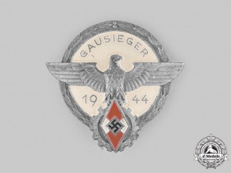 Germany, HJ. A 1944 Regional Trade Competition Victor's Badge, by Gustav Brehmer