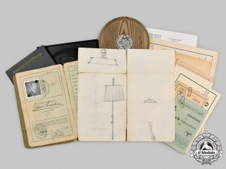 Germany, NSDAP. A Prototype Proposal Drawing by A.H. with Artisan Documents & Awards