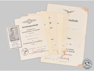 Germany, Luftwaffe. The Award Documents to Gunner NCO Zeitler, Sicily KIA