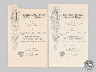 Germany, Imperial. Two Long Service Certificates to Railway Official Albert Krause