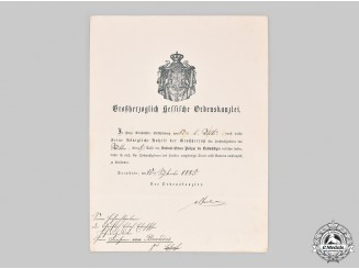 Germany, Imperial. The Award Document for the Order of Philipp the Magnanimous, I Class, 1885
