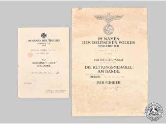 Germany, Heer. An Iron Cross II Class & Life Saving Medal Certificate to Gefreiter Bode