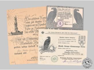 Germany, Weimar Republic. Three First War Participation Certificates to Vizefeldwebel Walter Schneider