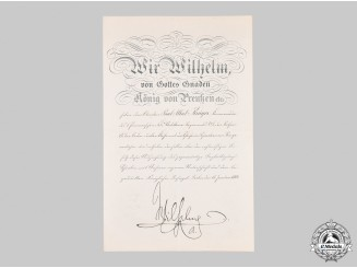 Germany, Imperial. An Eagle Order III Class Document, Signed by German Emperor Wilhelm II.