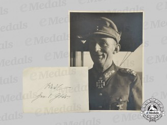 Germany, Heer. A Wartime Photo and Signature of Generaloberst Eduard Dietl