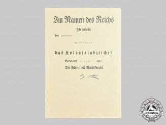 Germany, Third Reich. An Colonial Badge Award Document to Max Neubert