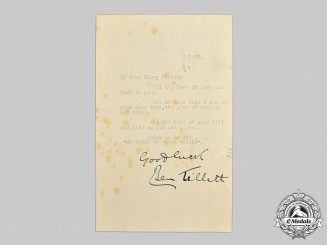 United Kingdom. A Letter from British Socialist, Trade Union Leader and Politician Benjamin Tillett to Sir Henry Fildes