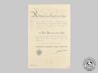 Germany, Imperial. A Red Eagle Order IV Class Certificate to Hauptmann Ernst Jahn