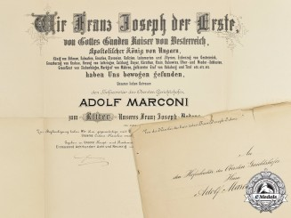 Austria, Imperial. A Large Leopold Order Knight's Cross Award Document, Signed by Emperor Franz Joseph