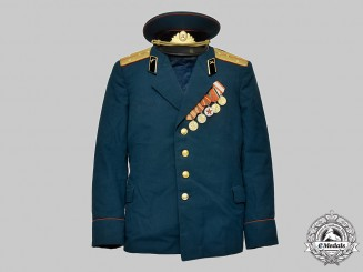 Russia, Soviet Union. A Red Army Infantry Captain's Uniform Cap and Tunic