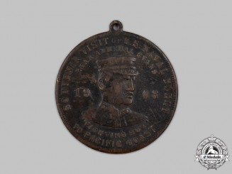 """United States. A Visit of Rear Admiral Robley """"Fighting Bob"""" Evans to the Pacific Coast Souvenir Medal 1908"""