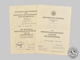 Germany, Heer. A Pair of Award Documents to Unteroffizier Wilhelm Moll, Schwere Artillerie-Abteilung 857