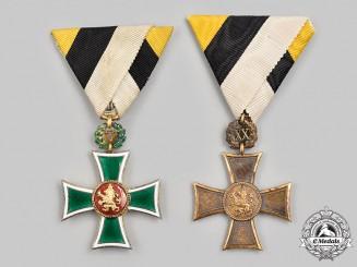 Bulgaria, Kingdom. Two Long Service Crosses for Twenty Years' Service