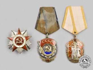 Russia, Soviet Union. Three Orders & Decorations