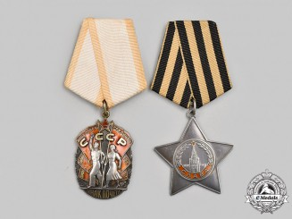 Russia, Soviet Union. Two Orders & Decorations
