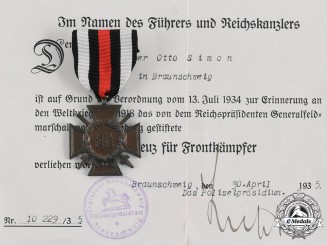 Germany, Third Reich. An Honour Cross of the World War 1914/1918, with Award Document to Locksmith Otto Simon, c. 1935