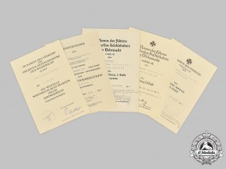 Germany, Wehrmacht. A Lot of Award Documents to Leutnant Walther Lorenzen, with Normandy Service