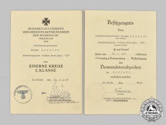 """Germany, SS. A Set of Award Documents to Unterscharführer Reimar Schmidt, 4th SS Panzergrenadier Regiment """"Der Führer"""""""