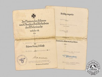 Germany, Heer. A Pair of Award Documents to Gefreiter Alfred Strödter, Infanterie-Regiment 483, Eastern Front Combat