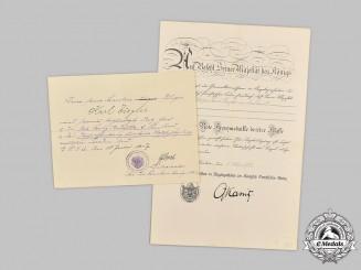 Germany, Imperial. Two Documents to First War Volunteer Nurse Karl Ziegler