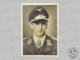 Germany, Luftwaffe. A Wartime Signed Photo of Fighter Ace Oberst Hermann Graf