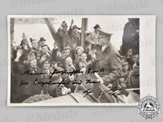 Germany, Third Reich. A Signed and Dedicated Postcard of AH in Braunau am Inn