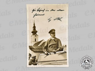 Germany, Third Reich. A Signed and Dedicated Postcard of AH in Leonding