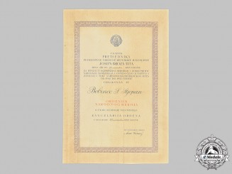 Yugoslavia, Socialist Federal Republic. An Order of the People's Hero Award Document for Acts in 1941-1945, Bobibec S. Stjepan 1953