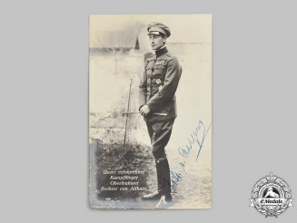 Germany, Imperial. A Wartime Signed Postcard of Fighter Ace Ernst Freiherr von Althaus