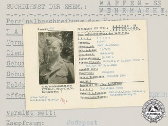 Germany, SS. A SS HIAG Tracing Service File for SS-Rottenführer Albert Böhme