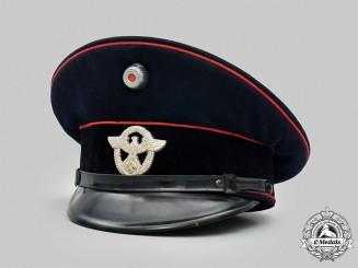 Germany, Feuerschutzpolizei. A Feuerschutzpolizei EM/NCO's Visor Cap, Rare Variation by Clemens Wagner