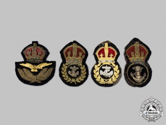 United Kingdom. Four Royal Air Force &  Royal Navy Officer's Cap Badges