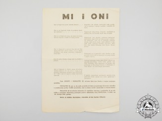 A Second War Period Croatian Leaflet Inviting Partisans to Surrender