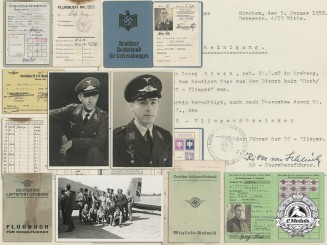 Germany, SS. An Award Document for Rare SS-Pilots Badge Signed by Famous WWI Ace with Documents