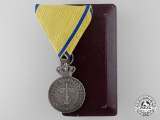 A Swedish Order of the Sword; Silver Merit Medal with Case