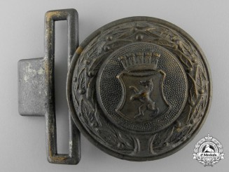 A Third Reich City of Berlin Fire Defence Service Officer's Belt Buckle; Published Example