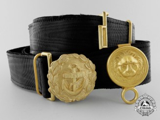 A 1940 German Line Officer's Undress Buckle and Fittings with Belt by Friedrich Linden