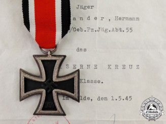 Germany. An Iron Cross 1939 Second Class with Award Certificate and American POW Leaflet