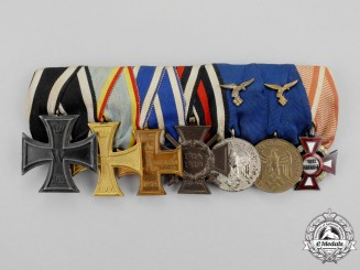 An Extensive First and Second War German Luftwaffe Long Service Medal Bar