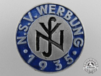 "A 1935 National Socialist People's Welfare ""N.S.V.""Werbung Recruiters Badge"