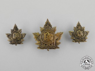 A First War 136th Infantry Battalion Officer's Insignia Set